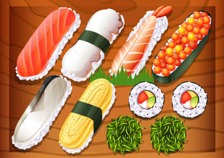 brown rice: Illustration of the different flavors of sushi