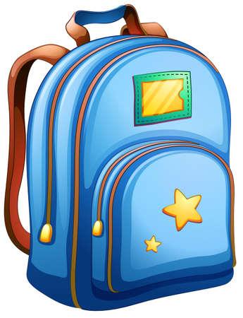 Illustratie van een blauwe schooltas op een witte achtergrond Vector Illustratie