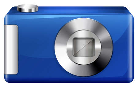 Illustration of a blue digital camera on a white background