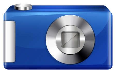 encodes: Illustration of a blue digital camera on a white background