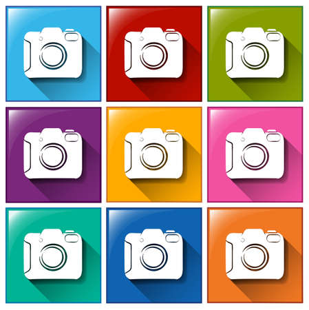 encodes: Illustration of the camera icons on a white background