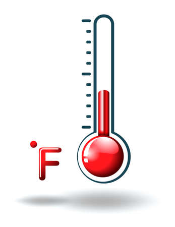 Illustration of a fahrenheit scale on a white background Illustration