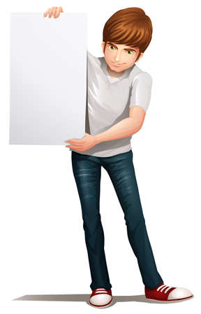 handsome young man: Illustration of a handsome young man holding an empty signboard on a white background