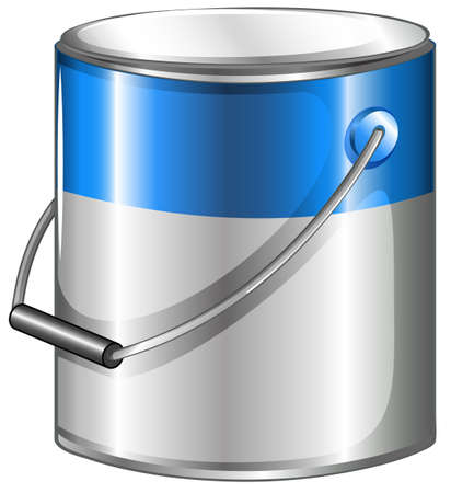 paint can: Illustration of a can of blue paint on a white background