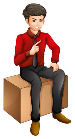 Illustration of a man sitting on a wooden bench on a white background