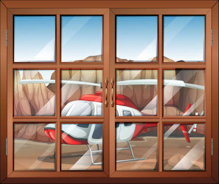 Illustration of a window with a view of the chopper outside Vector