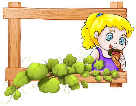 sweetened: Illustration of a frame with a young girl eating an icecream on a white background Illustration