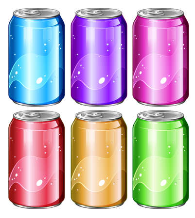 Illustration of a set of soda cans on a white background Ilustração