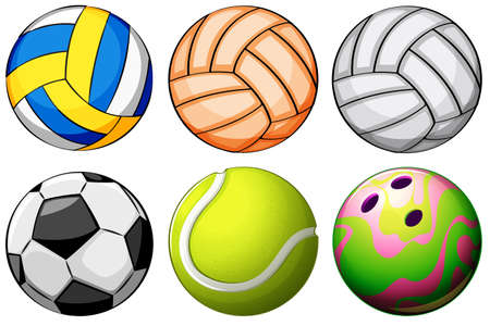 bounces: Illustration of a set of sport balls on a white background Illustration