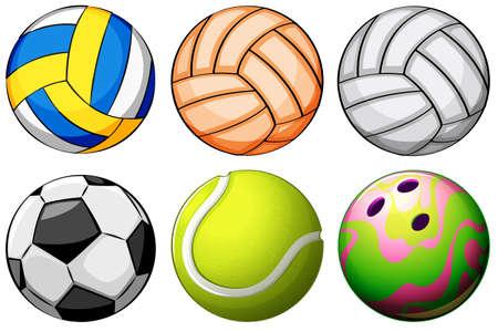 Illustration of a set of sport balls on a white background Illustration