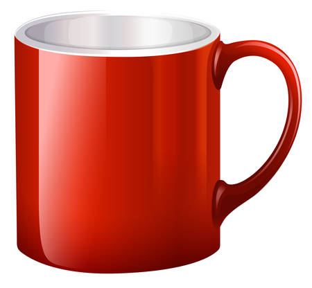 stoneware: Illustration of a handy red mug on a white background Illustration