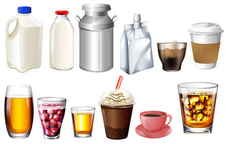 sip: Illustration of the different storage and containers on a white background
