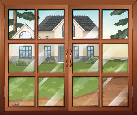 detached house: Illustration of a closed window with a view of the house outside