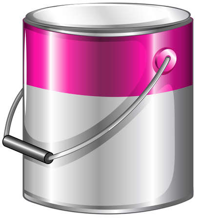 Illustration of a can of pink paint on a white background 일러스트