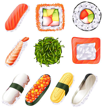 brown rice: Illustration of a set of sushi on a white background