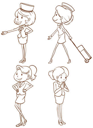 cabin attendant: Illustration of the sketches of the air hostess on a white background