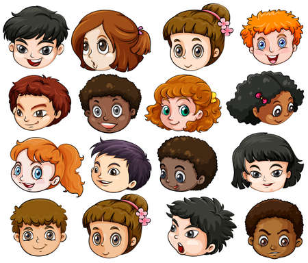 dark complexion: Illustration of the heads of different people on a white background