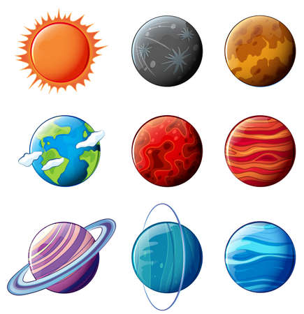 Illustration of the planets of the solar system on a white background
