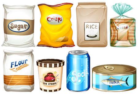 Ilustración de los diferentes tipos de alimentos sobre un fondo blanco