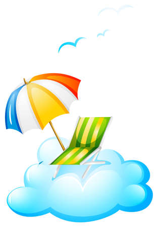 handheld device: Illustration of a summer at the beach on a white background