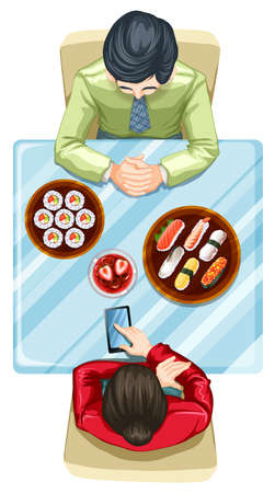 woman cellphone: Illustration of a topview of two people eating sushi on a white background Illustration