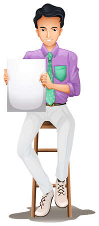 high chair: Illustration of a man sitting on a high chair while holding an empty signboard on a white background