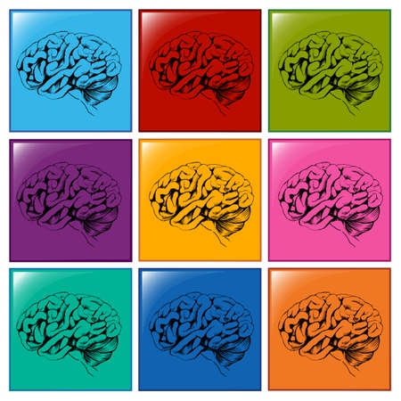 centralized: Illustration of the brain icons on a white background