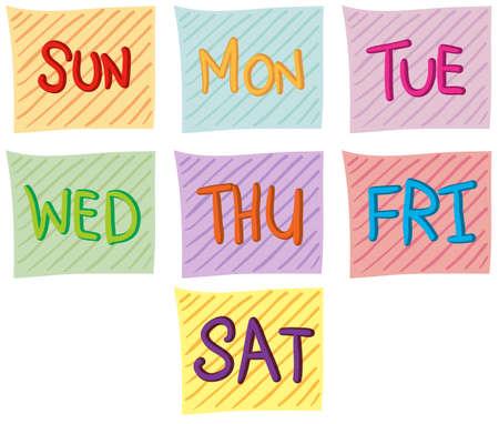 Illustratie van de zeven dagen van de week op een witte achtergrond