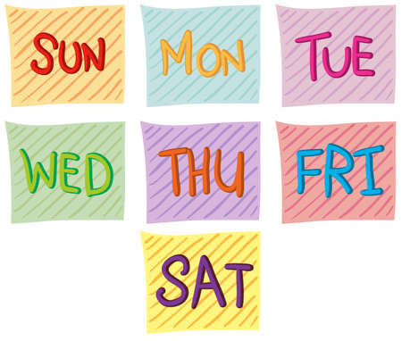 Illustration of the seven days of the week on a white background Vector
