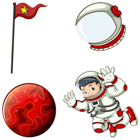 Illustration of an astronaut, a helmet, a banner and a planet on a white background