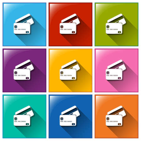 bankcard: Illustration of the card icons on a white background Illustration