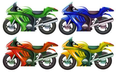 Illustration of the four superbikes on a white background Illustration