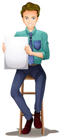 high chair: Ilustraci�n de un hombre en una silla alta con una se�al vac�a sobre un fondo blanco Vectores