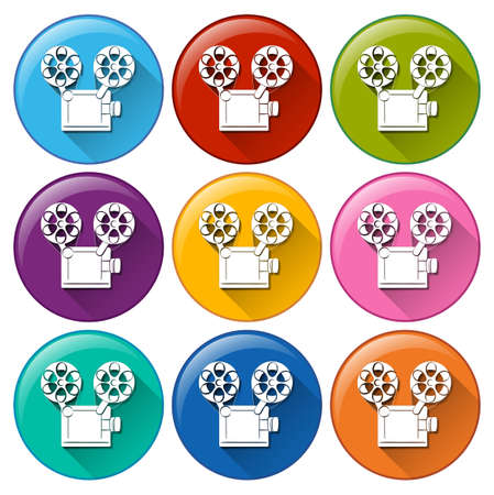 Illustration of the movie icons on a white background Vector