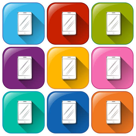 Illustration of the cellular phone icons on a white background Vector