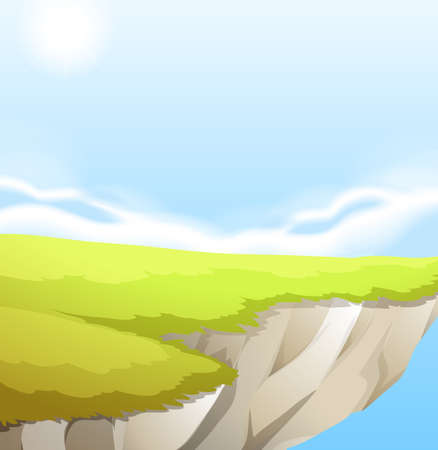grass land: Illustration of a top of a cliff