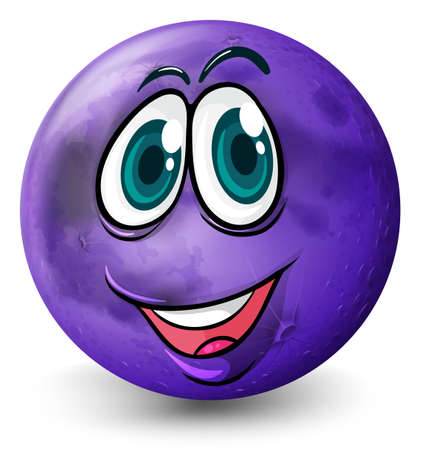 Illustration of a ball with a smiling face on a white background