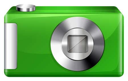 digicam: llustration of a green digicam on a white background Illustration