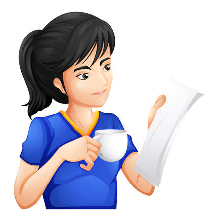 Illustration of a woman drinking while reading on a white background Vector