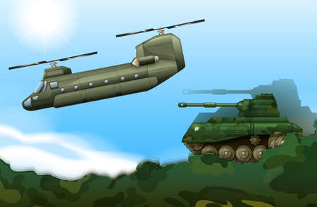 Illustration of a military tank and a helicopter Vector