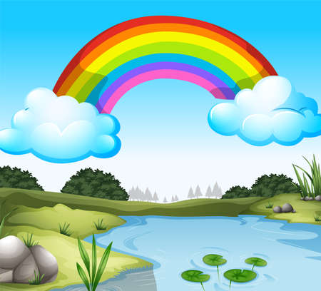 Illustration of a beautiful scenery with a rainbow in the sky