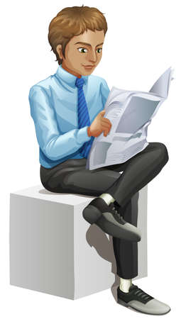 Illustration of a man sitting down while reading a newspaper on a white background Vector