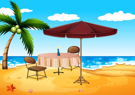 outdoor seating: Illustration of a beach