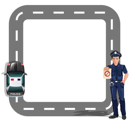 Illustration of a border design with a policeman and a patrol car on a white background Illustration