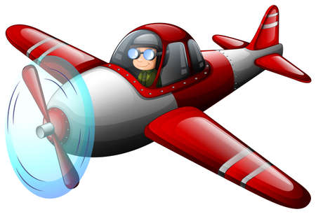 propulsion: Illustration of a red vintage plane with a pilot on a white background