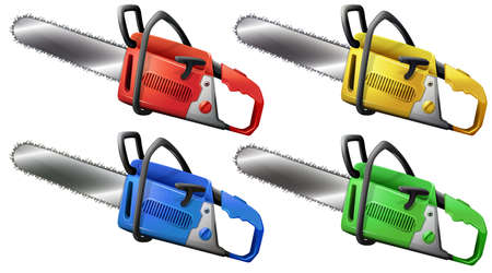 handheld device: Illustration of the set of chainsaws on a white background