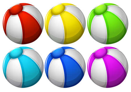 six objects: Illustration of the six colourful balls on a white background Illustration