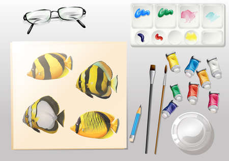 Illustration of a topview of a painting and the different painting materials 일러스트