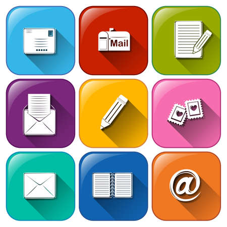Illustration of the mail icons on a white background Vector