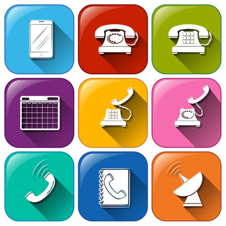 Illustration of the different icons for communication on a white background Vector